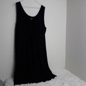 Garnet Hill XL Solid Black Dress Soft V Neck